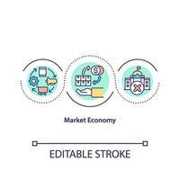 icône de concept d & # 39; économie de marché vecteur