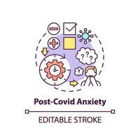 icône de concept d & # 39; anxiété post-covid vecteur