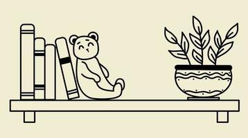 maison confortable. une étagère, des livres, un jouet mignon - un ours en peluche et un pot de fleurs. illustration vectorielle, contour. ligne noire vecteur