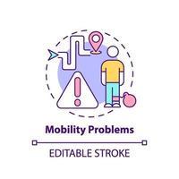 icône de concept de problèmes de mobilité vecteur