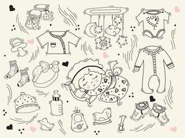 mignon bébé endormi en pyjama sur un oreiller, des choses pour bébé, des vêtements, des jouets et des chaussures. vecteur. ensemble de griffonnages. collection pour enfants. contour, ligne, contour. éléments isolés vecteur