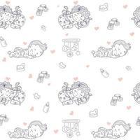 modèles sans couture. joli bébé en pyjama dort sur un oreiller. dessins décoratifs de bébés sur un fond blanc avec des jouets et des hochets, des tétons. contour. vecteur. collection enfants pour textiles, décoration vecteur