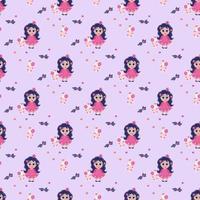 modèles sans couture. petite fille princesse avec sa langue pendante et tenant un jouet licorne dans ses mains sur un fond violet clair. vecteur. collection enfants pour le design, le textile et l'emballage vecteur
