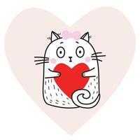fille mignonne drôle de chat blanc avec un coeur rouge dans ses pattes sur le fond d'un coeur rose. illustration vectorielle. animal mignon pour la conception, la décoration, les cartes de la Saint-Valentin vecteur