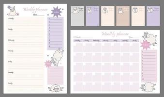 jolis modèles de planificateur - pour le jour, la semaine, le mois, la liste de tâches et le lieu pour les notes. organisateur et calendrier avec notes et liste de tâches. animaux de yoga. moutons drôles dans les asanas. illustration vectorielle a4. isolé