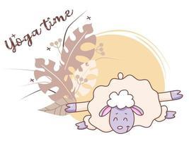 temps de yoga pour animaux de compagnie. un agneau mignon fait du yoga, s'étire en position couchée dans un asana. illustration vectorielle sur un fond décoratif avec des feuilles tropicales et un décor. concept - temps de yoga. design plat vecteur