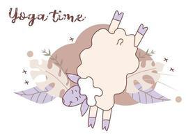 temps de yoga. adorable agneau fait du sport et du fitness. farm animal yoga - mouton ludique sautant et debout sur ses pattes avant sur un fond décoratif avec des feuilles tropicales et un décor. vecteur. isolé vecteur