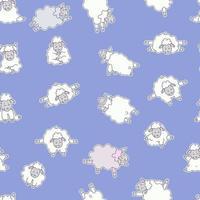 modèles sans couture. yoga pour animaux de compagnie. les moutons mignons font du sport, de la gymnastique et se lèvent des asanas. illustration vectorielle sur fond bleu. autocollants de yoga animaux de la ferme. pour l'emballage, le textile, le papier peint vecteur