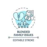 icône de concept de problèmes de famille recomposée vecteur