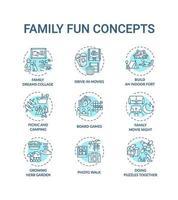 jeu d & # 39; icônes de concept de plaisir familial vecteur