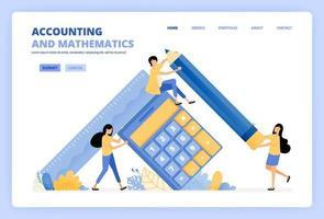 personnes détenant des calculatrices et des crayons pour les illustrations de l'enseignement de la comptabilité, des finances et des mathématiques. peut être utilisé pour le modèle de page de destination ui ux web application mobile affiche bannière site Web flyer annonces vecteur