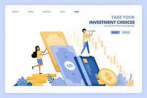 les femmes choisissent d'investir de l'argent sur le marché boursier. les hommes choisissent d'épargner en banque. le concept d'illustration vectorielle peut être utilisé pour la page de destination, le modèle, l'interface utilisateur, le web, l'application mobile, les affiches publicitaires, la bannière, le site Web, le dépliant vecteur