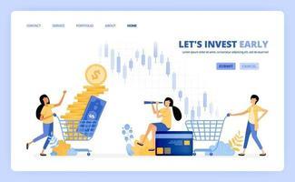 les gens achètent des instruments de placement sur les marchés monétaires, les bourses, les fonds communs de placement. le concept d'illustration vectorielle peut être utilisé pour la page de destination, le modèle, l'interface utilisateur, le web, l'application mobile, les affiches publicitaires, la bannière, le site Web vecteur