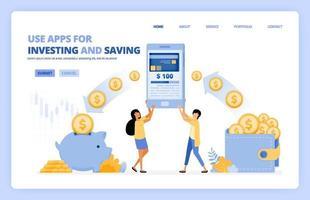 les gens utilisent des applications mobiles pour économiser et investir de l'argent dans une société sans numéraire 4.0. le concept d'illustration vectorielle peut être utilisé pour la page de destination, le modèle, l'interface utilisateur, le web, l'application mobile, l'affiche, la bannière, le site Web, le dépliant vecteur