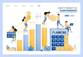 planification de la gestion financière personnelle et de l'entreprise. comptabilité financière. le concept d'illustration vectorielle peut être utilisé pour la page de destination, le modèle, l'interface utilisateur, le web, l'application mobile, les affiches publicitaires, la bannière, le site Web, le dépliant vecteur