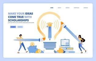 les étudiants peuvent réaliser leur rêve en suivant un programme de bourses d'études. le concept d'illustration vectorielle peut être utilisé pour la page de destination, le modèle, l'interface utilisateur, le web, l'application mobile, les affiches publicitaires, la bannière, le site Web, le dépliant vecteur