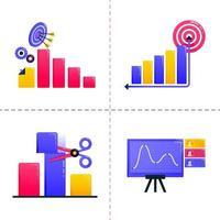 icône de conception de logo de finance, entreprise, marketing, analyse financière, graphiques et atteindre les objectifs. Le modèle de pack d'icônes peut être utilisé pour la page de destination, l'interface utilisateur, le Web, l'application mobile, l'affiche, la bannière, le site Web vecteur