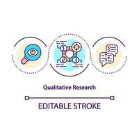 icône de concept de recherche qualitative vecteur