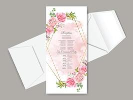 beau modèle de carte de réception de mariage dessiné main floral vecteur