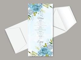 beau modèle de carte de menu de mariage dessiné main floral vecteur