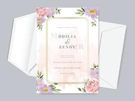 beau modèle de carte d'invitation de mariage dessiné main floral vecteur