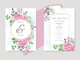 beau mariage floral dessiné à la main enregistrer le modèle de carte d'invitation de date vecteur