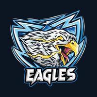 un aigle avec l'œil du feu comme logo esport vecteur