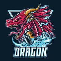 le logo ou la mascotte et le symbole du dragon e-sport vecteur