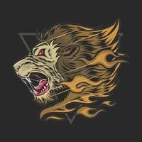 tête de lion hurlant avec crinière enflammée vecteur