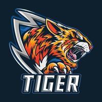 le tigre du Bengale comme logo ou mascotte et symbole e-sport vecteur