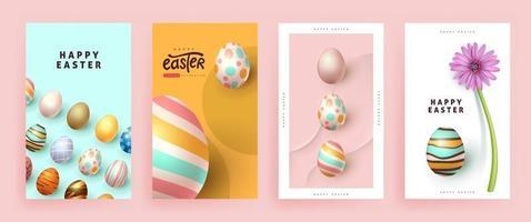 modèle de fond de bannière de Pâques moderne avec des oeufs colorés. vecteur