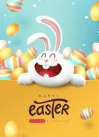 fond de bannière de Pâques avec lapin mignon et oeufs de Pâques colorés. vecteur