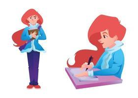belle fille étudiante rousse écrivant dans un cahier vecteur