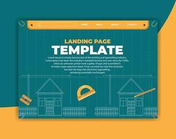 plan d'architecture de page de destination et outils de rédaction vecteur