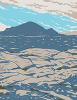 cratères de la lune monument national et préserver dans la plaine de la rivière des serpents dans le centre de l'idaho art de l'affiche wpa vecteur