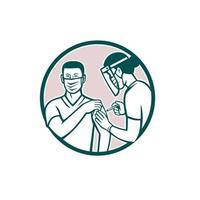 travailleur de première ligne vacciné avec le vaccin covid-19 par un médecin ou une infirmière en icône rétro de cercle vecteur