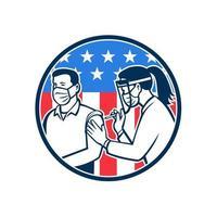 Travailleur de première ligne américain vacciné avec le vaccin covid-19 par un médecin ou une infirmière avec l'icône rétro du drapeau américain