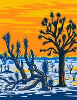 arizona joshua tree forest trouvé près de l'extrémité ouest du grand canyon à l'est du lac mead aire de loisirs nationale wpa poster art vecteur