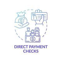 icône de concept de chèques de paiement direct