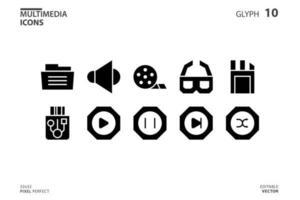 collection d'icônes de multimédia dans le style de glyphe. illustration vectorielle et AVC modifiable. isolé sur fond blanc. vecteur
