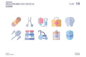 icône de soins de santé et médical dans un style plat. modèle de conception de logo vectoriel. icône du design moderne, symbole, logo et illustration. illustration graphique vectorielle et trait modifiable. isolé sur fond blanc. vecteur