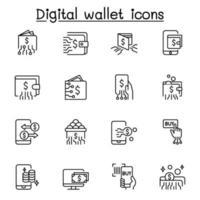 icône de portefeuilles numériques définie dans un style de ligne mince