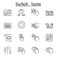 icônes de commutateur définies dans le style de ligne mince vecteur