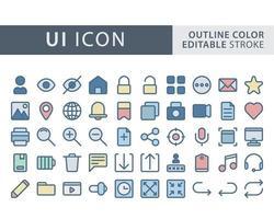 ensemble d & # 39; icônes d & # 39; interface utilisateur vecteur