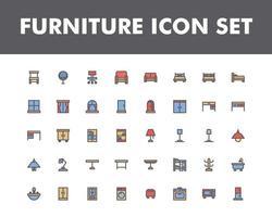 jeu d'icônes de meubles isolé sur fond blanc. pour la conception de votre site Web, logo, application, interface utilisateur. illustration graphique vectorielle et trait modifiable. eps 10. vecteur