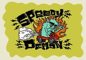 monstre go-kart vitesse démon vecteur