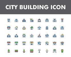 jeu d'icônes de construction de la ville isolé sur fond blanc vecteur