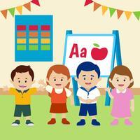 Enfants en vecteur de salle de classe