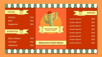 Vecteur de modèle de menu de cuisine mexicaine Vintage