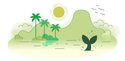 Vecteur de l'île déserte